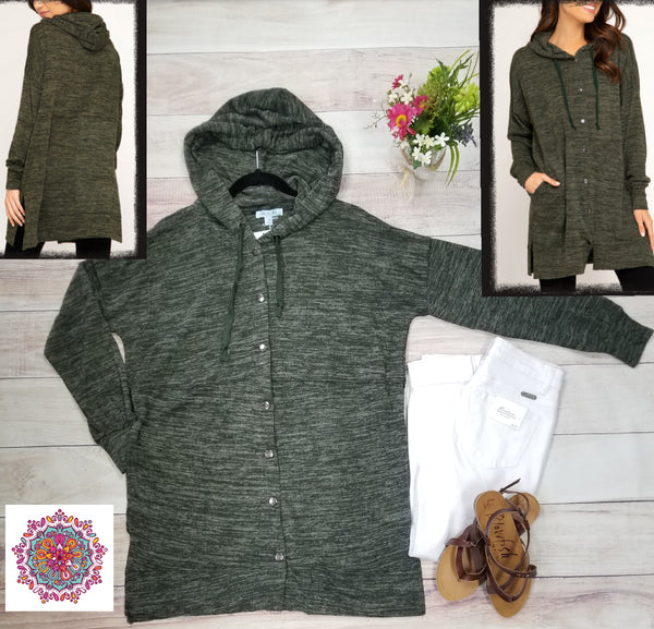 Hooded hacci lightweight snap closure cardigan with pockets