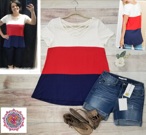 Color block criss cross neck short sleeve