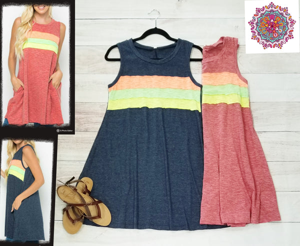 Sleeveless stripe tunic/dress