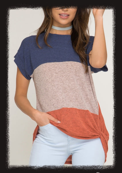 Short sleeve colorblock twist detail top