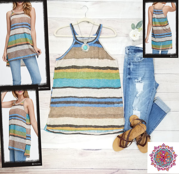 Striped knit long tank