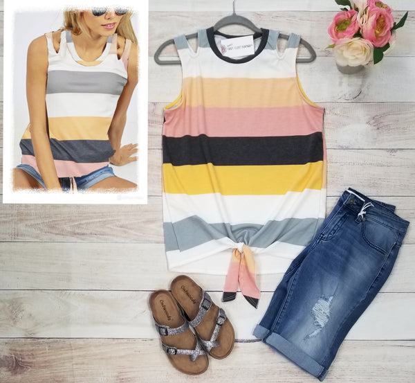 Striped sleeveless self tie top