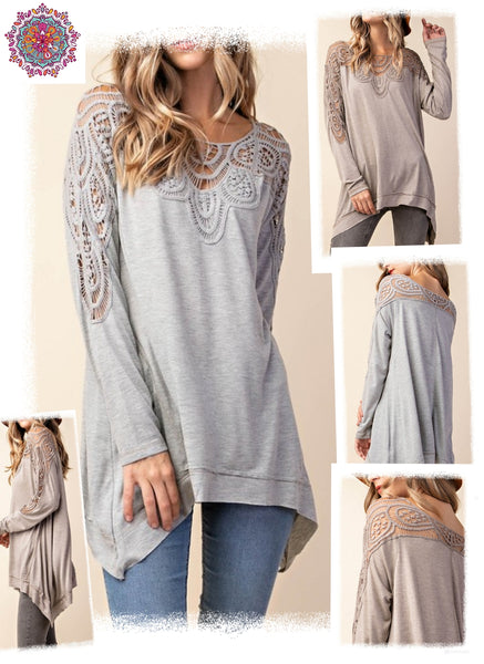 Long sleeve crochet detail tunic top
