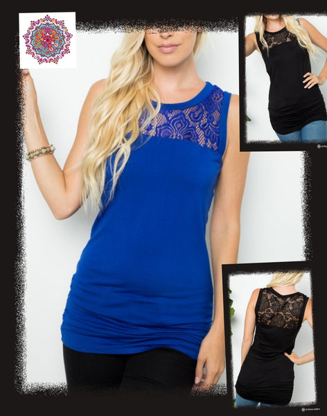Lace detail shirred tank