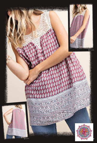 Border printed sleeveless top