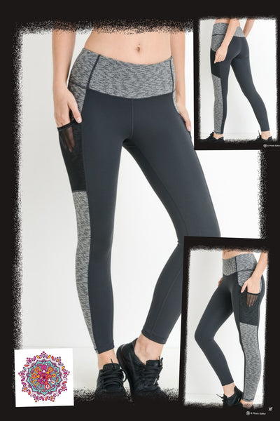 Activewear leggings with mesh pockets