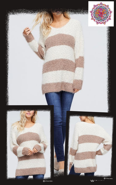 Long sleeve soft striped sweater