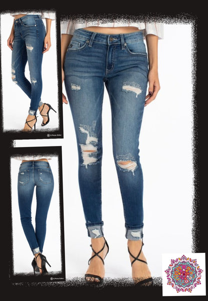 Cuffed distressed mid-rise Kan Can skinny jeans