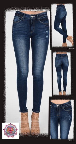 Mid-rise dark wash Kan Can skinny jeans