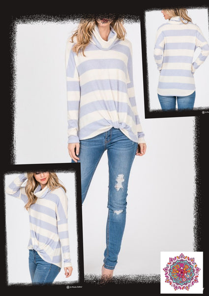 Striped knotted long sleeve cowl neck top