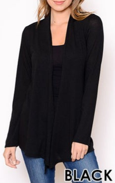 Knit open drape front cardigan