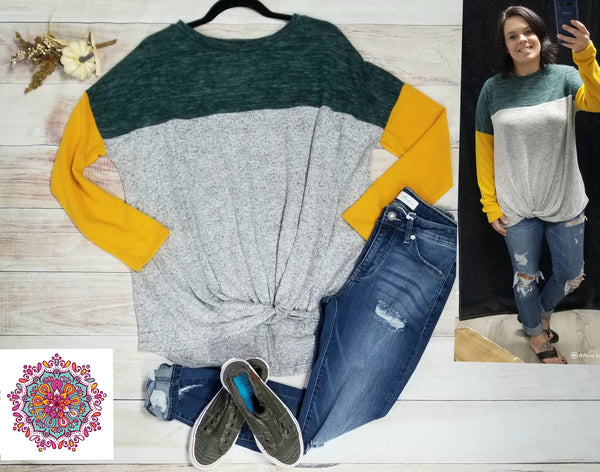Long sleeve color block top with twist front