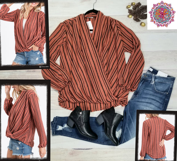 Cross front striped sweater knit top