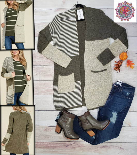 Striped colorblock long cardigan