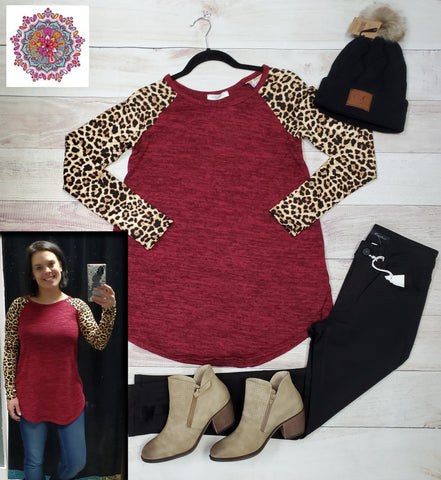 Animal print long sleeve hacci tunic