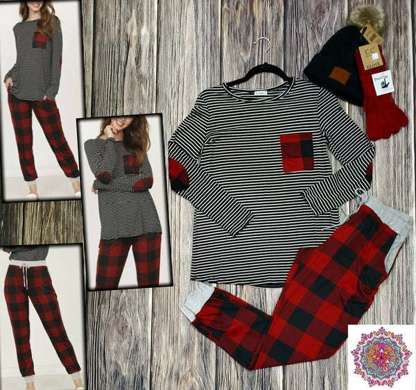 Stripe buffalo plaid detail long sleeve