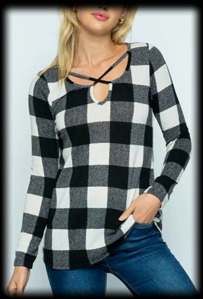 Long sleeve buffalo plaid top