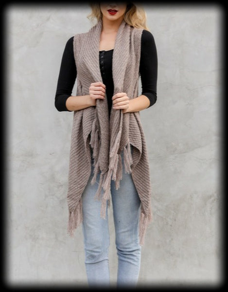 Sleeveless fringe cardigan