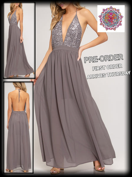 Sequin top maxi dress