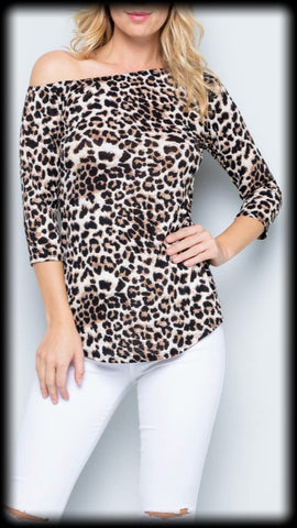 3/4 sleeve off the shoulder leopard top