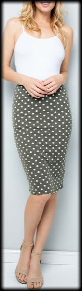 Olive polka dot pencil skirt