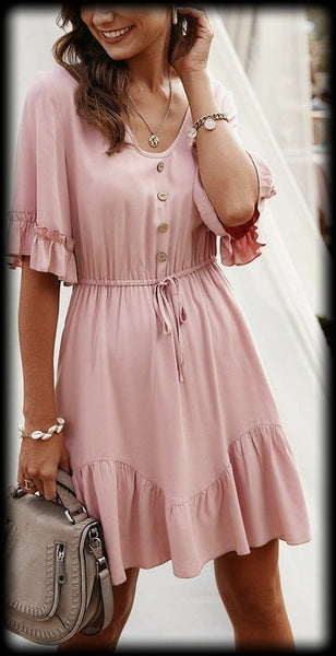 Pink elastic waist ruffle sleeve dress