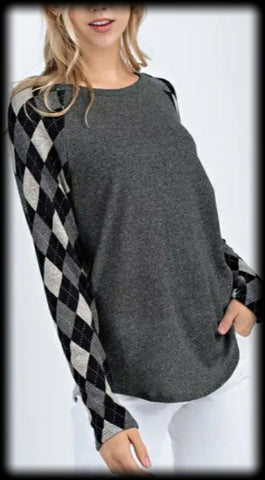 Argyle sweater knit long sleeve top