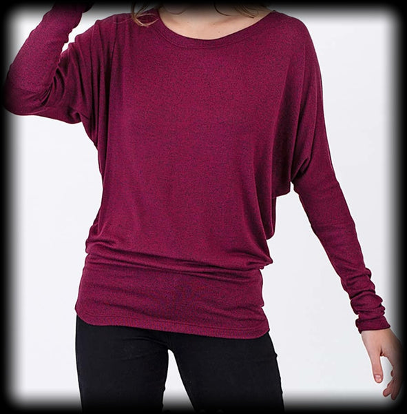 Dolman sweater knit long sleeve top