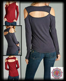 Long sleeve open shoulder top with cut out back