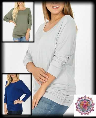3/4 sleeve solid dolman top