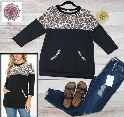 3/4 sleeve leopard color block top