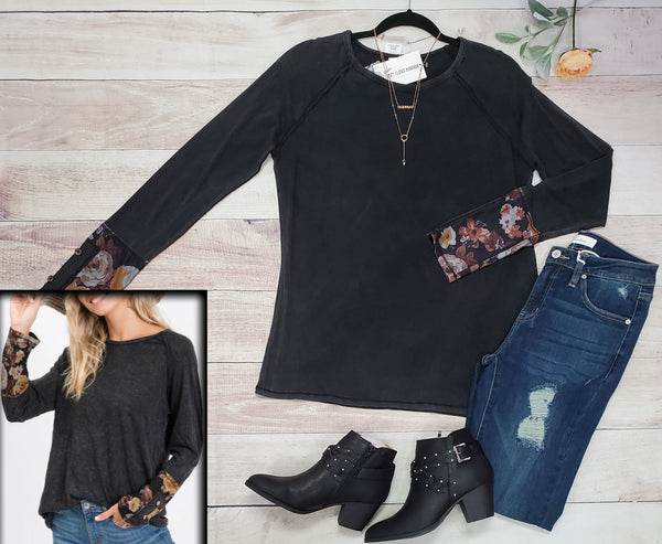 Floral cuff button detail long sleeve top