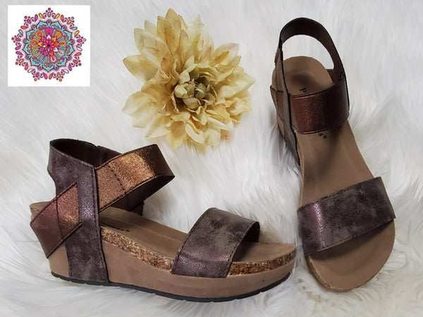 Bronze wedge slip on sandals
