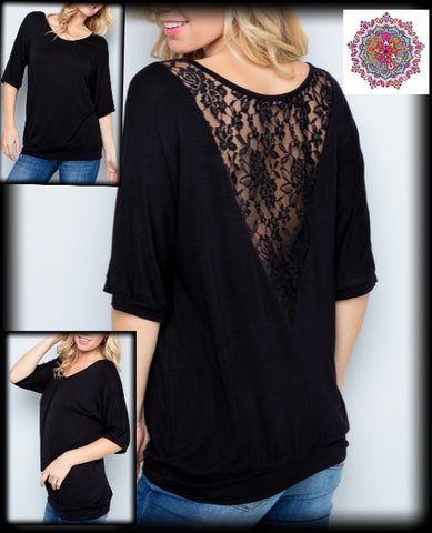 Half sleeve lace detail top