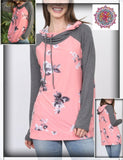 Long sleeve floral solid color block top with double hood