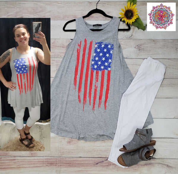sleeveless flag tunic dress