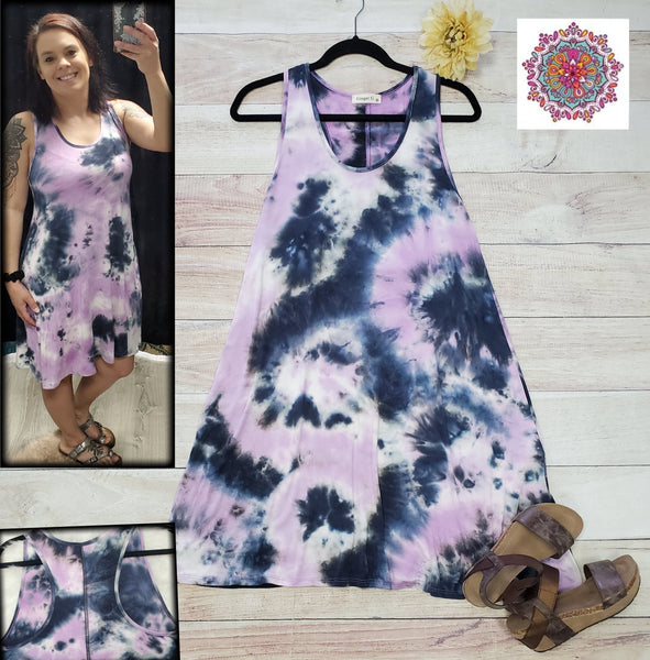 Tie dye dress with racer back