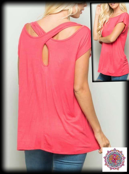 Coral top with criss cross back