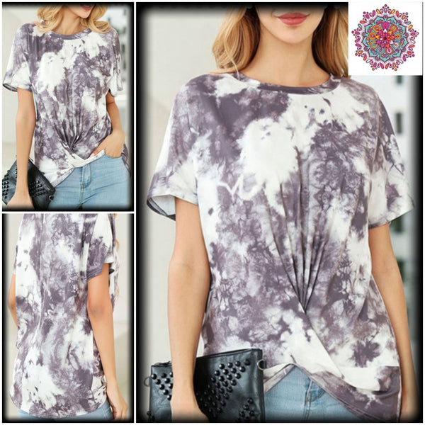 Short sleeve tie dye twist front top