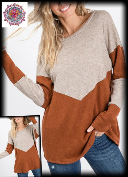 Chevron sweater knit long sleeve top