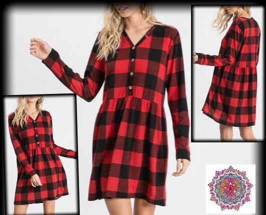 Buffalo Plaid button detail baby doll dress