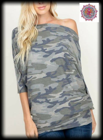 Camo one shoulder dolman top