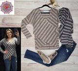 Long sleeve striped knit cross front top