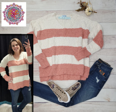 V-neck striped popcorn sweater