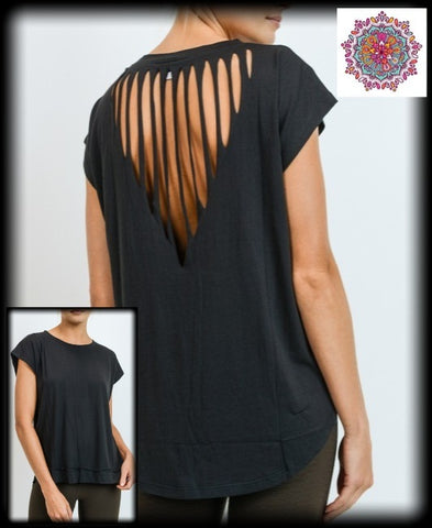 Cap sleeve top with reverse triangle laser cut back