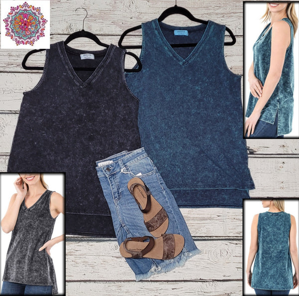 Mineral wash sleeveless v-neck