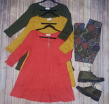 3/4 sleeve cuffed tunic