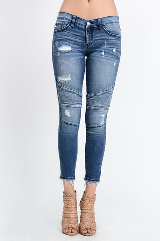 Distressed moto ankle skinny jeans
