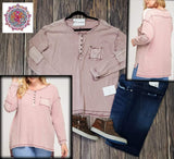 Long sleeve waffle knit top with pocket and elbow patches
