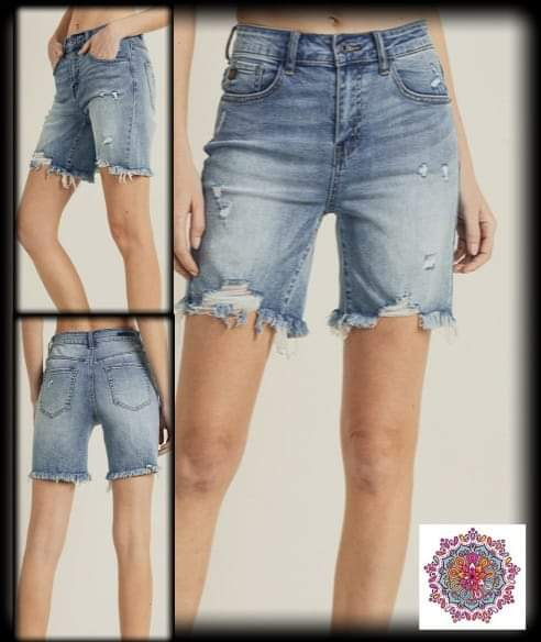 Distressed Risen denim Jean shorts